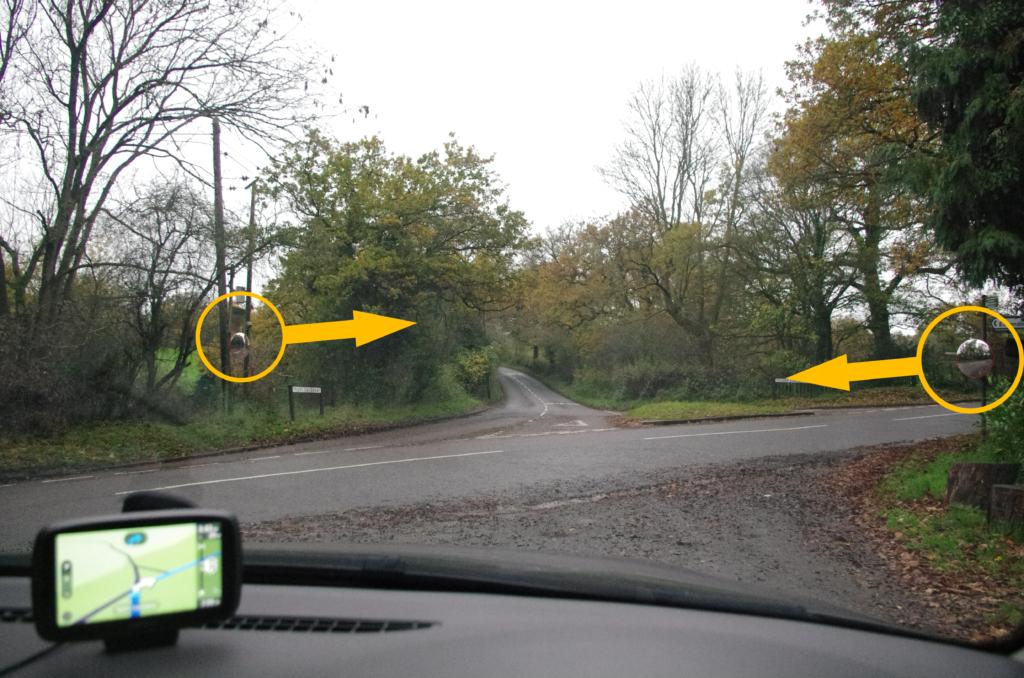 Warren Wood Entrance Traffic Mirror Locations