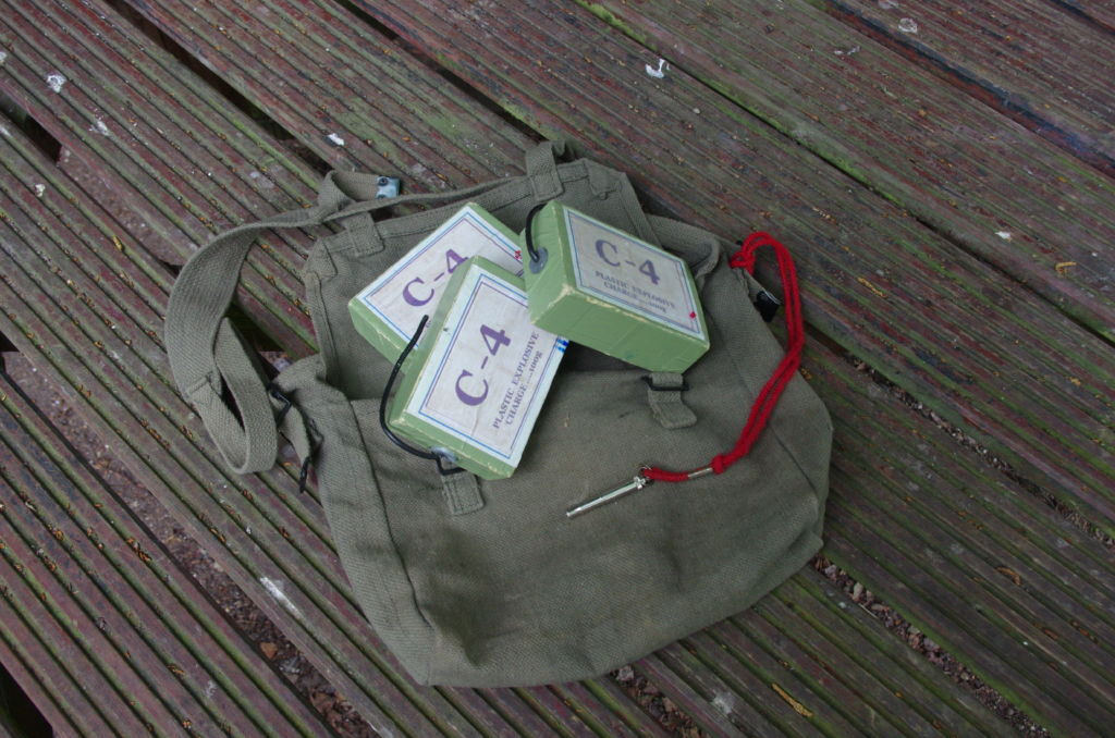 "The Sappers Satchel - contents: ""C4"" and whistle."