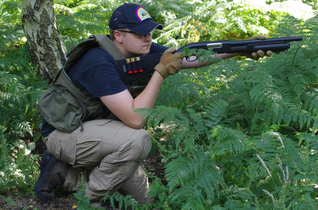 A spring powered tri-shot shotgun.