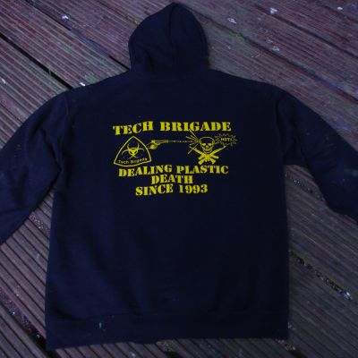 Merchandise TB Hoodie: zip front, yellow on black - back