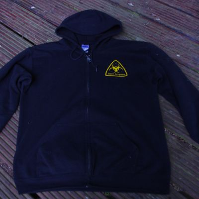 Merchandise TB Hoodie: zip front, yellow on black - front