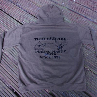 Merchandise TB Hoodie: plain front, black on brown - back