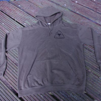 Merchandise TB Hoodie: plain front, black on brown - front