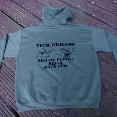 Merchandise TB Hoodie: plain front, black on military green - Front