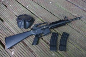 Example Rental Gun Package - M4 AEG Assault Rifle, 2 magazines and a mesh full face mask.