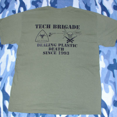Merchandise T-shirt -  black on military green - Back