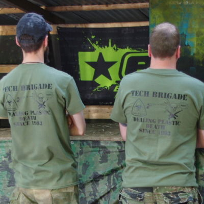 Merchandise T-shirt -  black on military green - As worn by TB players