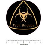 Merchandise - Tech Brigade Sticker - yellow on black - 60mm Diameter