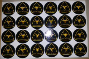 Merchandise - Tech Brigade Sticker Sheet - yellow on black